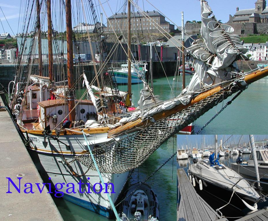 Marité à quai à Granville, en bas Soleil Noir amarré à port Chantereyne Cherbourg